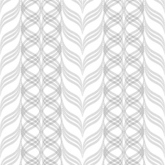 Wavy stripes, floral ornament, geometric seamless pattern, texture. Black on white. For wallpaper and fabrics. Vector illustration.