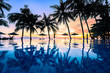 Summer beach holiday vacation destination, luxurious beachfront resort swimming pool with tropical landscape, quiet warm sunset, silhouette and reflection in water