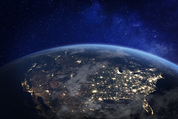 North America at night viewed from space with city lights showing human activity in United States (USA), Canada and Mexico, New York, California, 3d rendering of planet Earth, elements from NASA