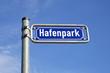 Straßenschild Hafenpark in Frankfurt am Main