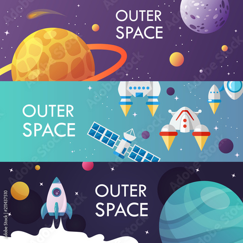 set of cartoon space banners. vector illustration. universe. header.
