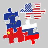 trade war concept between the United States and China, Russia, the European Union. four puzzle elements with USA, Chinese, Russian and EU flags esp 10 vector illustration.