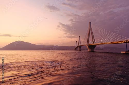 Canvas Rio de Janeiro Greece, Rio Antirion suspended bridge in the twilight