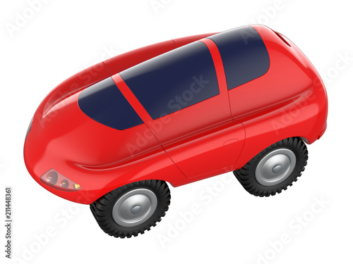 Plexiglas Auto Cartoon green toy car isolated on white background. 3d rendering.