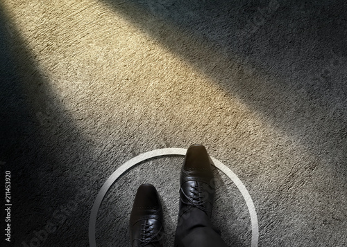 Comfort Zone Concept Businessman With Formal Shoes Steps Over Circle Line To Outside The White