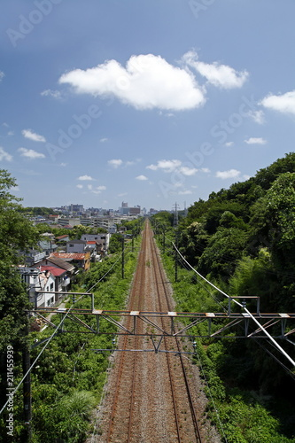 Aluminium Spoorlijn 一本の線路と青空