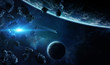 Leinwanddruck Bild - Distant planet system in space with exoplanets 3D rendering elements of this image furnished by NASA