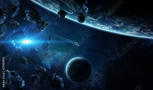 Leinwanddruck Bild Distant planet system in space with exoplanets 3D rendering elements of this image furnished by NASA