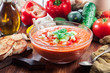 Spicy homemade gazpacho soup
