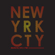 NYC t-shirt typography with gradient. New York, Brooklyn modern print for tee shirt graphics. Trendy apparel stamp, poster design. Vector illustration.
