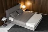 Dark wood master bedroom interior, top view - 211465721