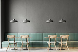 Dark gray wall bar interior, green sofas - 211465786