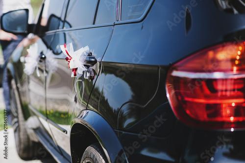A car with decor on wedding - 211469377