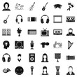 Musical instrument icons set. Simple style of 36 musical instrument vector icons for web isolated on white background