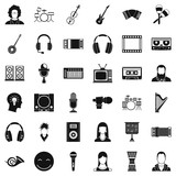 Musical instrument icons set. Simple style of 36 musical instrument vector icons for web isolated on white background - 211470946