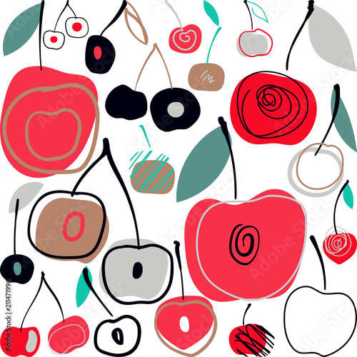 Tapeta Vector illustration pattern with cherries. Summer background in scandinavian style.