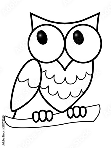 Fotobehang Uilen cartoon Owl. The big-eyed owl sits on a branch. Sweet owl on a branch. Children's drawing. Line drawing for coloring