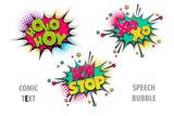 Fototapety xoxo, hoho pop art style set hand drawn sound effects template comics book text speech bubble. Halftone dot background.