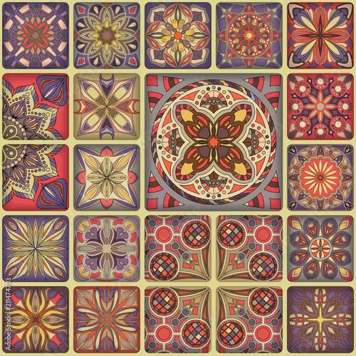 Ethnic floral mandala seamless pattern. Colorful mosaic background.