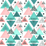 Seamless Pattern of Triangles and Abstract Shapes - 211481357
