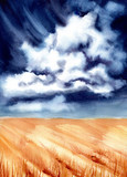Watercolor Illustration with Dark Sky, Clouds and Wheat Field - 211481370
