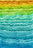Striped Watercolor Background with Waves - 211481395