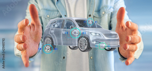 Wall mural Man holding a Smartcar with checkings 3d rendering