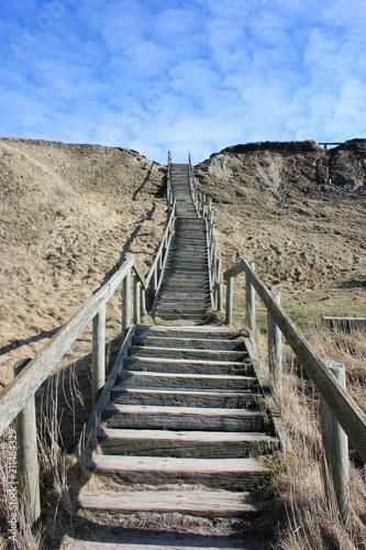 Fotobehang Noordzee stairs in the dunes of denmark