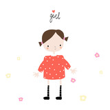 Sweet little girl with flowers and lettering. Vector hand drawn illustration. - 211486181