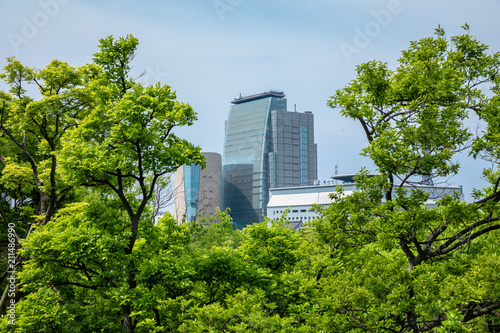 Fototapeta Osaka, Japan city skyline at the castle and business park in the