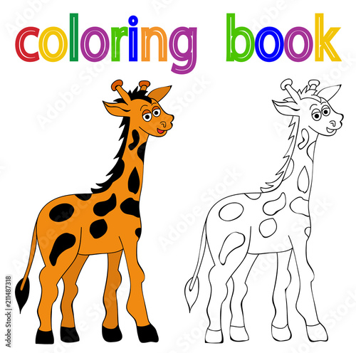 vector, book coloring giraffe