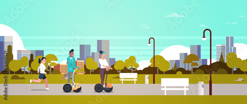 urban park outdoors activities man woman riding gyroscooter running nature city buildings street lamps cityscape horizontal banner flat vector illustration - 211488531
