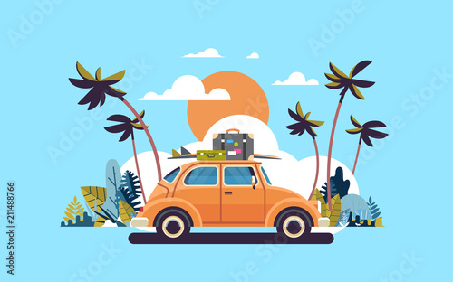 Plexiglas Auto retro car with luggage on roof tropical sunset beach surfing vintage greeting card template poster flat vector illustration
