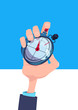 human hand hold stopwatch time manager chronometer timer concept flat vertical vector illustration