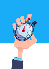 human hand hold stopwatch time manager chronometer timer concept flat vertical vector illustration © mast3r