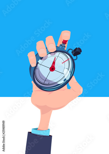 human hand hold stopwatch time manager chronometer timer concept flat vertical vector illustration - 211489149