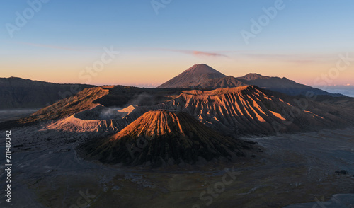 Mount Bromo volcanic in sunrise, famous travel destination and tourist attraction in Indonesia in morning