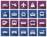 Square icons set of some transport facilities with long shadow