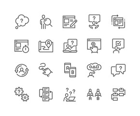 Simple Set of UX Related Vector Line Icons. Contains such Icons as User Flow, Journey Map, A-B Testing and more. Editable Stroke. 48x48 Pixel Perfect.