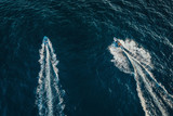 Speed boat on the sea, aerial view