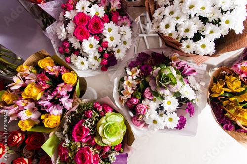 A lot of colorful flower bouquets , florist business. - 211496349