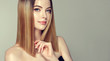 Leinwanddruck Bild - Beautiful model girl with shiny brown and straight long  hair .Keratin  straightening .Treatment, care and spa procedures.Medium length hairstyle. Coloring, ombre,and highlighting