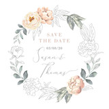 Blush pink peony flowers and gray leaves wreath. Wedding frame with graphic elements. Vector illustration. Floral bouquet. Design greeting card. Invitation background. Save the date template - 211503570