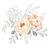 Blush creamy peony flowers and gray leaves with graphic elements. Vector illustration on the white background. Floral bouquet. Design greeting card. Invitation background. Botanical blossom