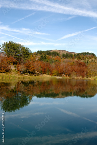 Fotobehang Groen blauw Bocco lake on the Bocco pass in the autumn season in Liguria in Italy