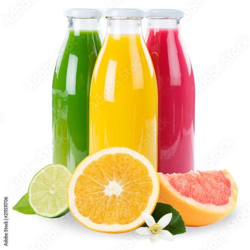 Fototapeta Saft Orangensaft Smoothie Smoothies Flasche Fruchtsaft Früchte Quadrat freigestellt Freisteller isoliert