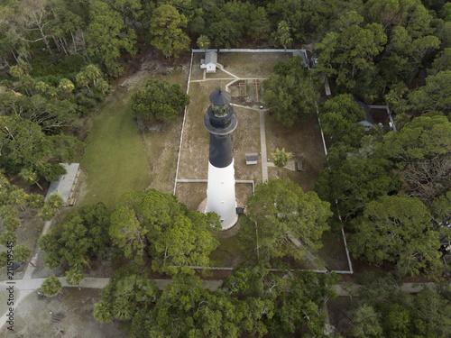 Fotobehang Vuurtoren Aerial view of Hunting Island Lighthouse in South Carolina, USA.