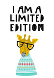 I am a limited edition - Cute hand drawn nursery poster with cool giraffe animal with glasses and hand drawn lettering.
