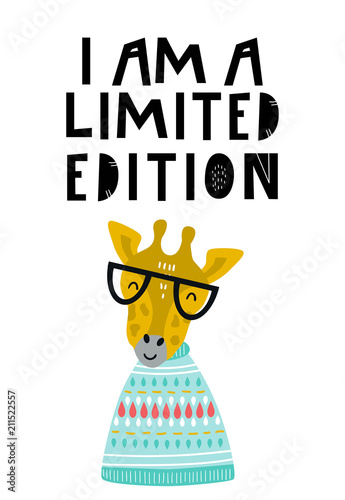 mata magnetyczna I am a limited edition - Cute hand drawn nursery poster with cool giraffe animal with glasses and hand drawn lettering.