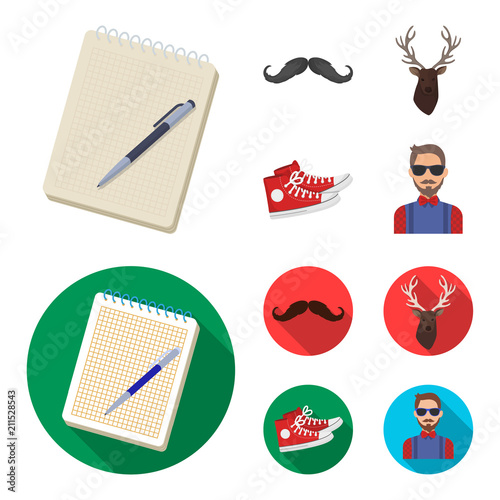 Fotobehang Hipster Hert Hipster, fashion, style, subculture .Hipster style set collection icons in cartoon,flat style vector symbol stock illustration web.